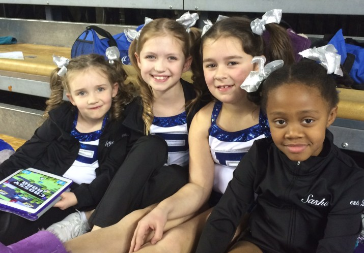 Some girls from our Pee Wee Competition Cheer team waiting to perform