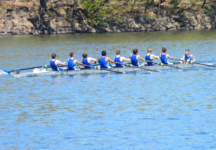 The Great Valley Crew team rows in a regatta on the Schuylkill River.